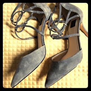White House Black Market 2in Suede Gray Heels